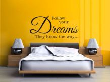 "Vinyl Wall Quote ""Follow Your Dreams They Know The Way"" Modern Wall Sticker"